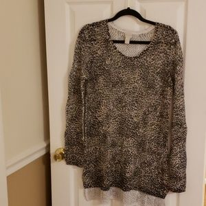 Chico's  NWOT Animal Print Open Weave Sweater